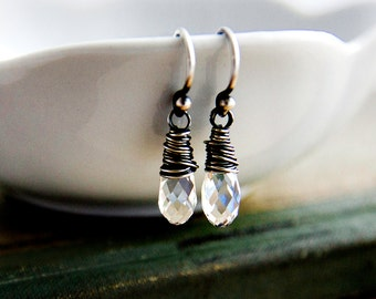 Drop Earrings, Crystal Earrings, Crystal Jewelry, Dangle Earrings, Swarovski Crystal, Swarovski Earrings, Wire Wrapped, Sterling Silver,