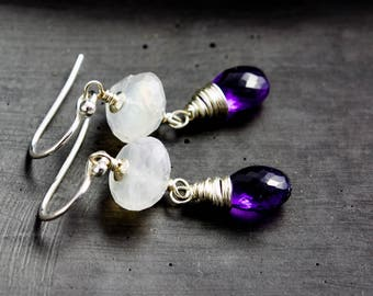 Moonstone and Amethyst Earrings, February Birthstone Drop Earrings, Birthstone Dangle Earrings