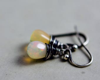 Opal Earrings, Opal Jewelry, October Birthstone, Ethiopian Opal, Dangle Earrings, Drop Earrings, Perfect Gift