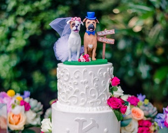 Custom Made Clay Pet Dog Cat Wedding Cake Topper Sculpture Boxers Cats Animals pets people