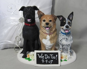 Custom made clay pet DOG cat  Wedding Cake Topper Australian Cattle Dog Labrador Chow Chow Bride Groom Handsculpted polymer clay