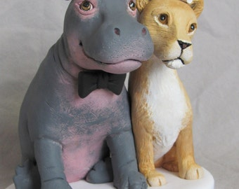 Custom Made Clay HIPPO & LIONESS Pet Dog Cat Lion  Wedding Cake Topper Sculpture Bride Groom Dog Cat Pet Animal Safari