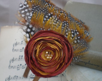 Feather and Flower Headband, Made to order