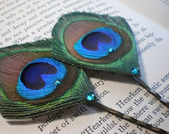 Peacock Bobby Pin Set (made to order)