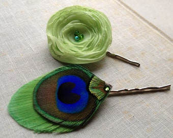 Lime Sherbert Flower and Peacock Feather Pin Set - Made to Order