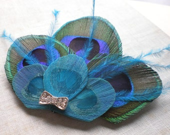 Peacock Fascinator with Bow, Made to Order