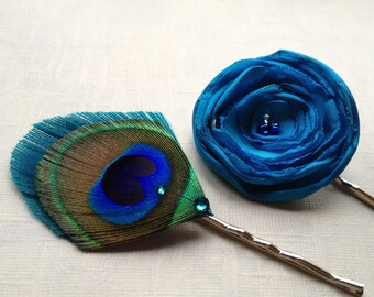 Calypso Blue Flower and Peacock Feather Pin Set - Made to Order