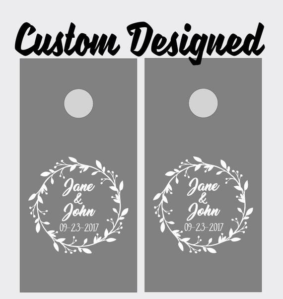 Wedding corn hole board gift custom decals for bean bag toss