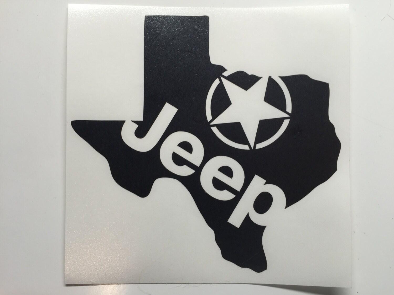 TEXAS state shape JEEP star custom decal love sticker jk cj yj | Etsy