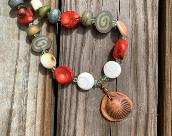 Organic Coral, Shell and Polymer Clay Beads Necklace