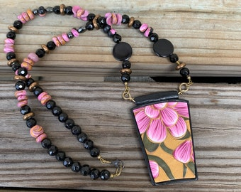 Kato-inspired Polymer Clay Pendant Flower Necklace