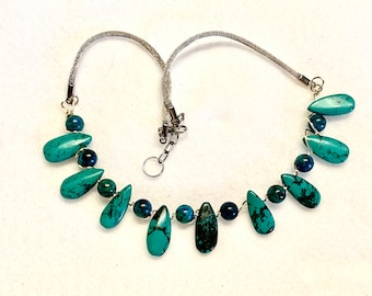 Turquoise Teardrop Firmly Wired Type 3 Necklace