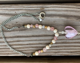 Glass Heart Pink Chain Necklace