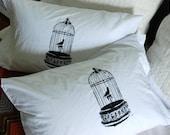Gilded Birdcage Pillowcase Pair Standard Black on White