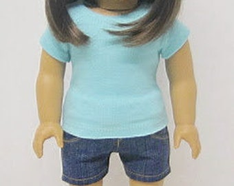 American Girl 18 inch Doll Fitted T-Shirt in Light Blue by Crazy For Hue