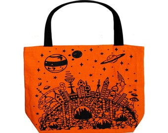 Alien World Print Tote Bag Retro Space City Reusable Grocery Bag Screen  Print Tote Bag 1950s Sci Fi Gift Hipster Bag Printed Canvas Tote f3836df6e6f7b