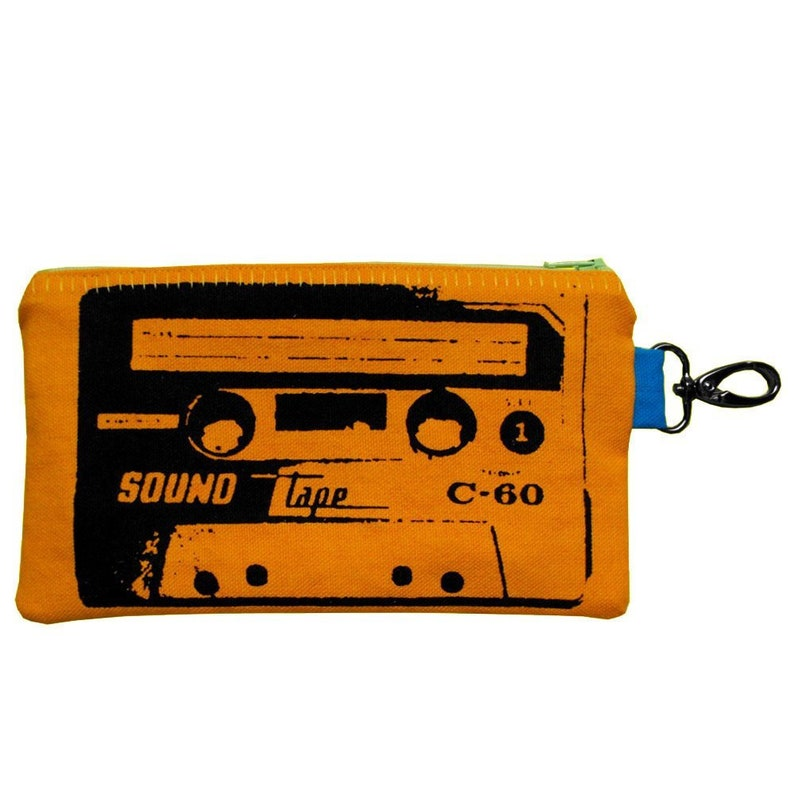 Screen Print Wallet Cassette Tape Pouch Retro Tapes 80s Clutch Zip Pouch Pencil Pouch Womens Wallet Mens Phone Wallet Clip On Pouch Yellow