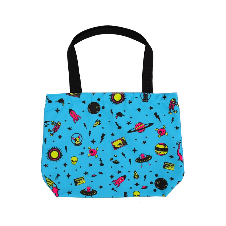 Space Age Tote Bag with Pocket Reusable Grocery Bag Art Icons  8c65843f328b7