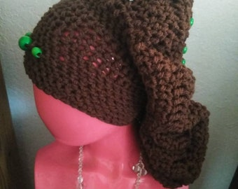 Brown Handmade Acrylic Crochet Hat (tam, beret) with Green Wooden Beads for Girls Women