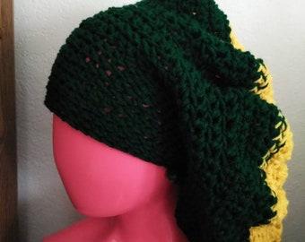 Green and Yellow Handmade Acrylic Crochet Hat (tam, beret) with Green Wooden Beads for Girls Boys Women Men