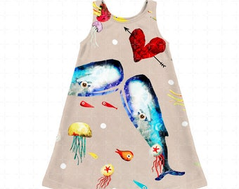 Kids Dress - Choose Whale Business or Meadow Black Floral