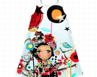 Kids Dress - Choose between Frida Mexico or Abstract Turquoise Polka Dots