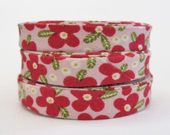 1/2 inch Double Fold Bias Tape - Red Poppies on Pink - 3 yards