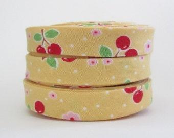Double Fold Bias Tape  - Riley Blake Bake Sale Cherry Yellow - 3 yards