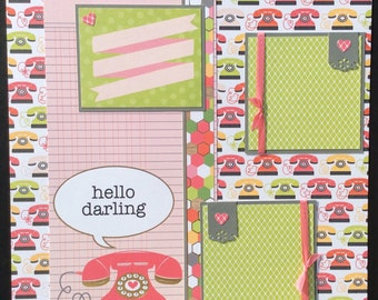 Scrapbook Layout, Two Page Layout, Premade Scrapbook Pages, Telephones, Scrapbook Album Pages, Teen Girl Layout