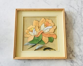 VINTAGE Framed Floral Fabric And Feather Art Rectangular Picture Frame Of  Pink Rose Hibiscuc Type Flower Wall Decorative