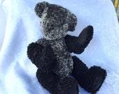 PESIAN WOOL BEAR Vintage Persian Wool teddy bear handcrafted genuine fur two tone lamb fur black and grey hand made