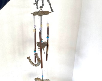 Vintage Horse Wind Chime~ Horseshoe /& Cowboy~ Lucky Metal Horse Chimes~ New Old Stock