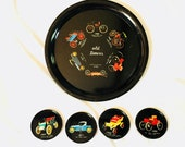 Vintage tray set classic cars theme black enamel round Tray with vintage automobiles Red yellow with four coasters old timers retro tray