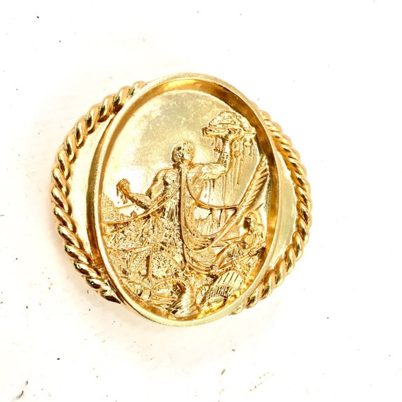 Belt Buckle vintage Bethlehem wire rope gold belt buckle by
