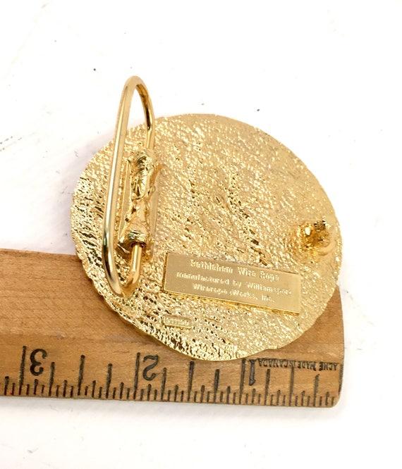 Belt Buckle vintage Bethlehem wire rope gold belt buckle by