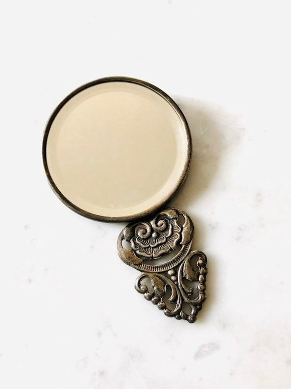 Vintage Vanity Mirror hand mirror silver Table Va… - image 5
