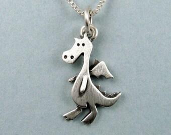 Tiny dragon pendant /  necklace