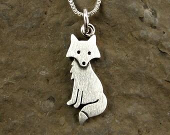 Tiny fox pendant /  necklace