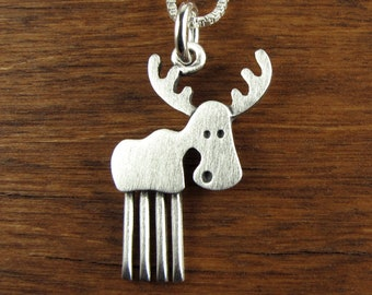 2 Sizes Cute Deer Pendant Dainty Charm Necklace Moose Gift for her Sterling Silver or Gold Moose Pendant Moose Necklace Ready to ship