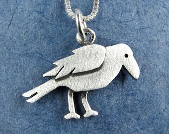 Tiny crow pendant / necklace