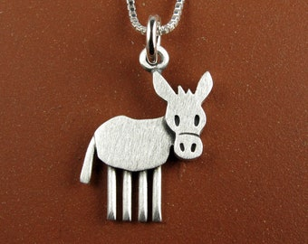 Tiny donkey pendant / necklace