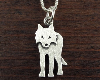 Tiny silver wolf pendant / necklace