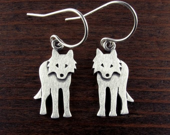Tiny silver wolf earrings