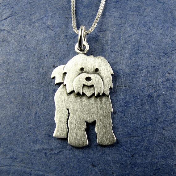 Maltese Puppies Collier Pendentif Chaîne Verre Tibet bijoux argent
