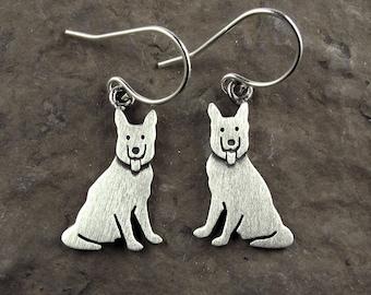 Tiny German Shepherd earrings