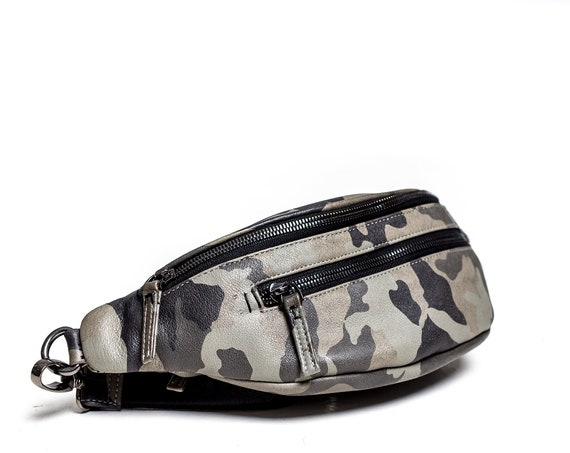 Cities in Dust Stone Grey Camo Leather Fanny Pack