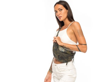 Cult Classic Olive Green Camo Leather Fanny Pack