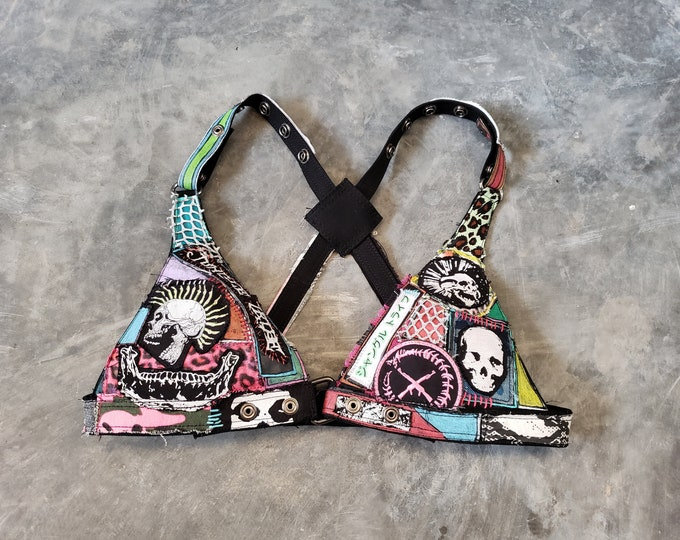 Featured listing image: Neon Skulls Canvas Bra