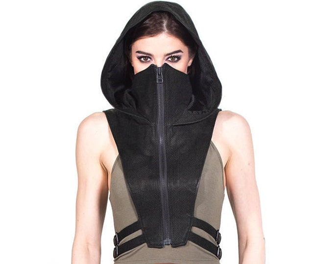Featured listing image: NINJA KOMBAT HOOD Techwear Crop Top Vest  in Jet Black Canvas