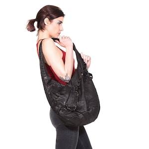 8a877d8012 NINJA ASSASSIN Big Black Leather Hobo Bag